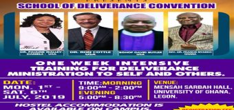 ONE WEEK INTENSIVE TRAINING FOR DELIVERANCE MINISTRATION TO SELF AND OTHERS